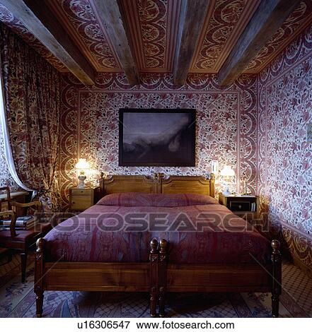 image red white indien coton tissu sur murs et plafond de chambre coucher image. Black Bedroom Furniture Sets. Home Design Ideas