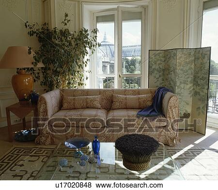 immagini - loosecover, su, divano, in, tradizionale, soggiorno ... - Divano Davanti Finestra