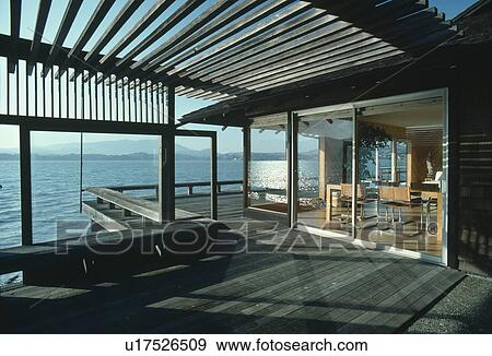 Stock Photograph Of Pergola And Decking Terrace On Modern