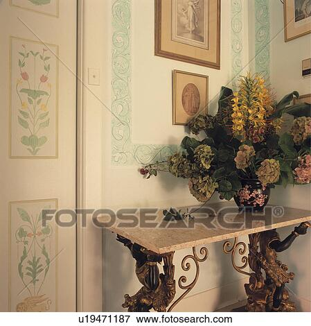 Picture of Floral arrangement on baroque marble and gilt
