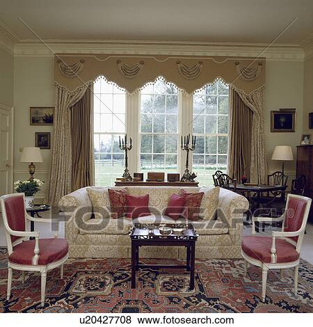 Pictures Of Decorative Pelmet And Neutral Curtains In Traditional Living Room With Cream Sofa