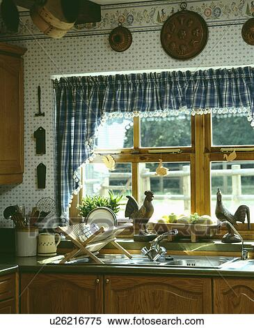 Kitchen Curtains chicken kitchen curtains : Stock Image of Blue+white checked curtains on window with chicken ...