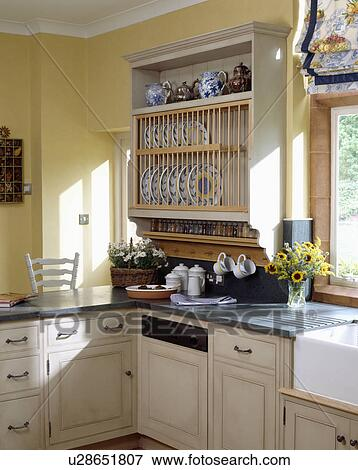 picture of cream platerack above built in dishwasher in