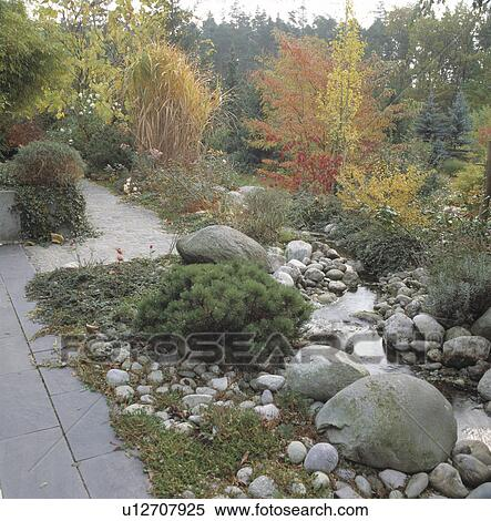 Stock image of pebbles and large stones beside stream in country stock image pebbles and large stones beside stream in country garden in autumn fotosearch workwithnaturefo
