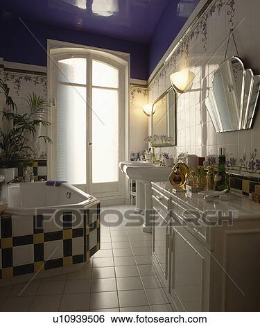 Stock Images Of Black White And Yellow Tiles On Bath In