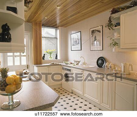 Immagine neutrale cucina con legno soffitto e built in lavapiatti e lavatrice - Lavatrice cucina ...