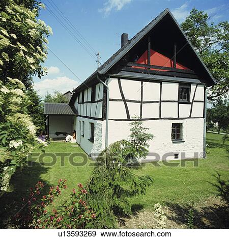 Stock Photograph Of Traditional Black White Country House