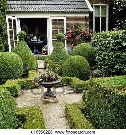 Pictures of small courtyard by open french windows with a for Small french courtyard gardens