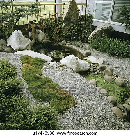 Stock photography of oriental style gravel garden with for Pond fish stocking calculator