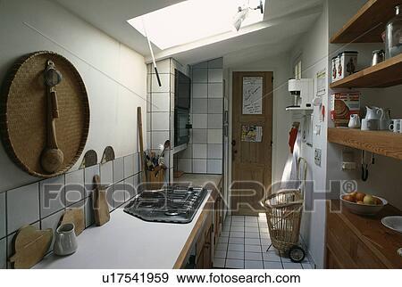 Stock Fotografie - wicker, blad, op, muur, boven, worktop, met ...