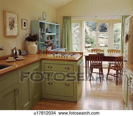 Stock foto   wooden flooring, in, room, keuken, eetkamer, met ...