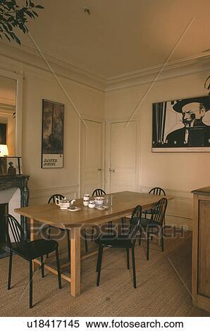 스톡 이미지 - 검정, 의자, 와..., 직사각형의, 나무로 되는 테이블 ...