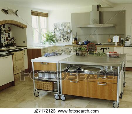 Stock Photo Of Large Moveable Island Unit On Castors In Modern White Kitchen With Limestone