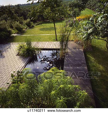 Stock Photography Of Paving And Wooden Decking Around Small Rectangular Pond In Large Country