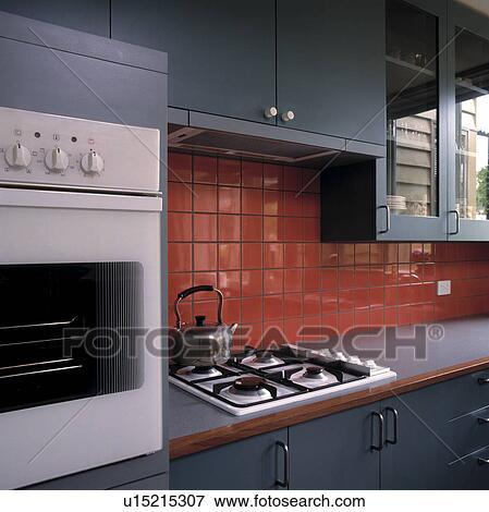 Beeld   rood, tiled, splashback, boven, staal, ketel, op, built in ...
