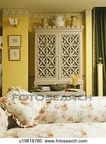 Stock Photography Of Carved Beige Wooden Cupboard Behind