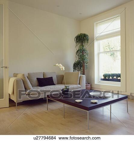 Archivio Fotografico - beige, divano, e, scuro, legno, tavola, in, moderno, l...