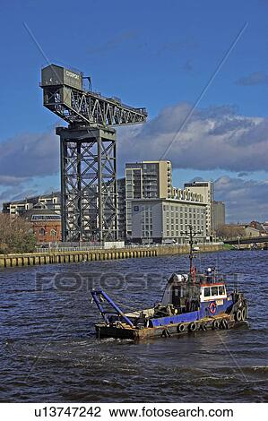 Stock Photo Scotland Lanarkshire Glasgow River Clyde View With Modern Hotel And