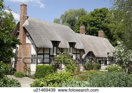 Archivio fotografico inghilterra warwickshire shottery for Piani casa inglese cottage