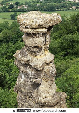 烟囱, a, 石灰石, 岩石形成, 那, 站, 在上面, a, 废弃, 采