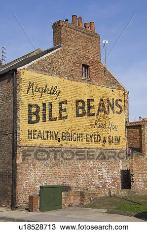 England North Yorkshire York Old Advertising Hoarding For Bile Beans On The Side Of A Brick Building