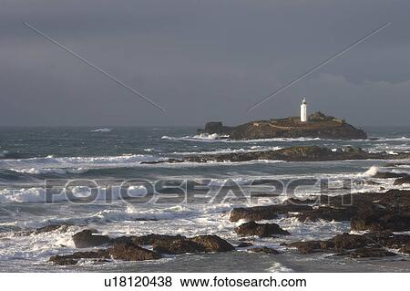Images Angleterre Cornouailles Godrevy Phare A Vue