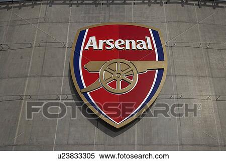 Stock image of england london arsenal exterior view of for Emirates stadium mural