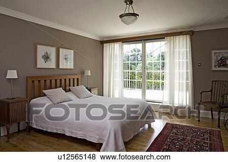 Billeder   hvid, seng linned, ind, moderne, beige, soveværelse ...
