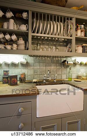 ... Stock Images Of Plate Rack Above Belfast Sink In Olive Green ... On  Plate ...