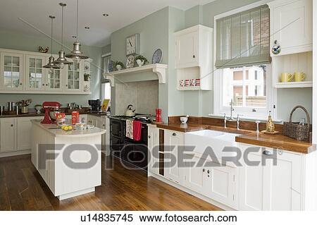 Stock Afbeelding - grijs-blauw, keuken, met, room, gepaste ...
