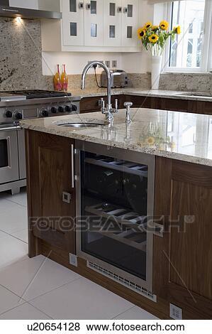 pictures of wine cooler below underset sink in granite worktop on