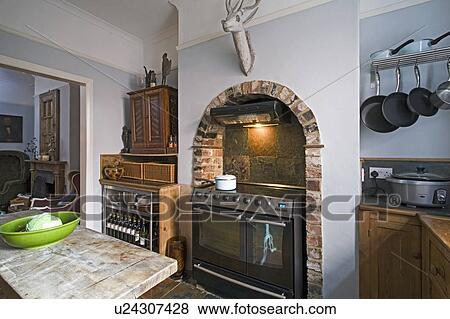 Pictures Of Range Oven In Fireplace Alcove With Brick Arch