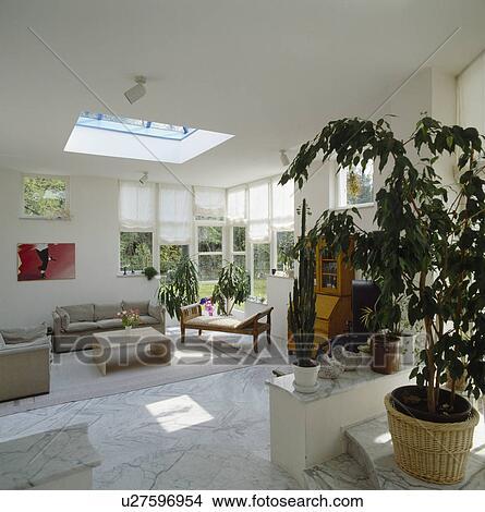 Stock Foto - beige, sofas, und, marmor fußboden, fliesenmuster, in ...