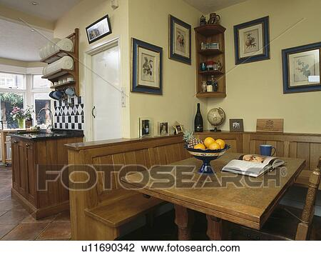 Stock Photo Of Wooden Table And Fitted Bench Seating In Country