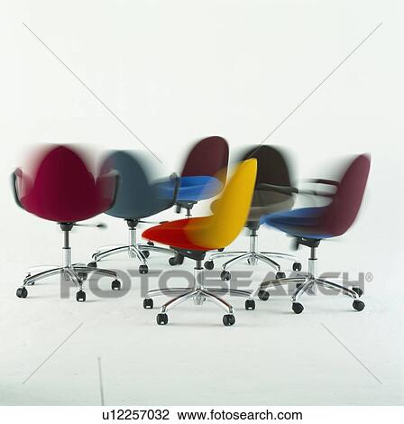 Stock Photo   Multicoloured Modern Office Chairs With Steel Frames And  Colourful Seats. Fotosearch