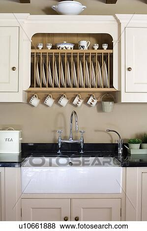 pictures of fitted plate rack in fitted cream cupboard above white