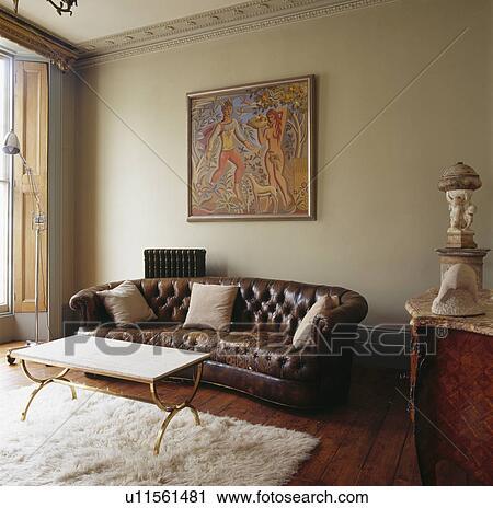 Stock fotografie gro bild oben braun leder - Chesterfield wohnzimmer ...