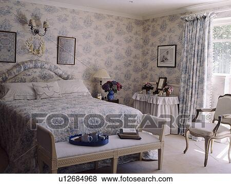 images blue white toile de jouy papier peint et. Black Bedroom Furniture Sets. Home Design Ideas