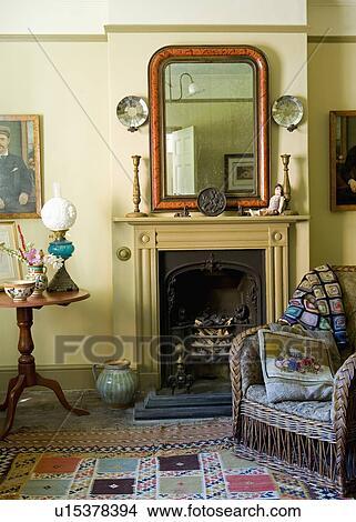tappeto per camino : ... , con, patchwork, tappeto, e, patchwork, lancio, su, vimine, poltrona