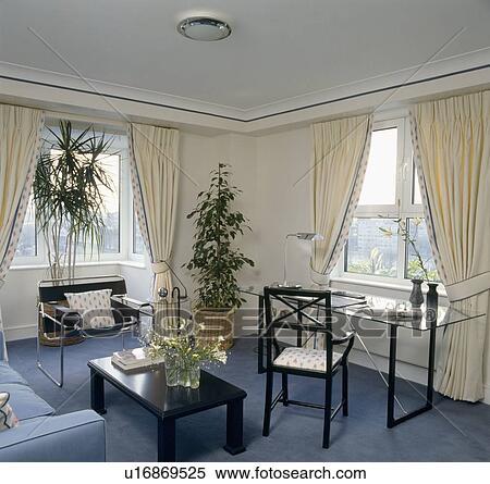 stock bild creme vorh nge blau teppich in wohnung wohnzimmer mit gro houseplants. Black Bedroom Furniture Sets. Home Design Ideas