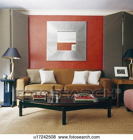 Immagini - piegatura, grigio, tessuto, schermi, su, o, lato, di, divano, sotto, metallo ...