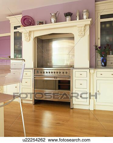 Stock photo of range oven and cream fitted units in mauve for Mauve kitchen walls