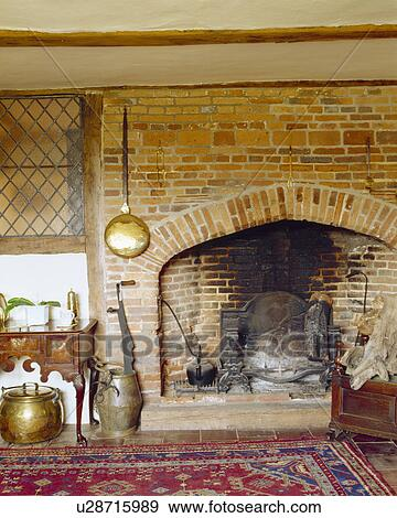 brick fireplace clipart. stock photograph warming pan on brick fireplace in old country house fotosearch search clipart