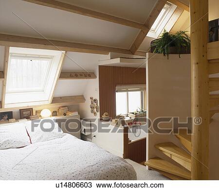 Archivio fotografico divano letto sotto velux finestra in attico conversione camera - Letto con letto sotto ...