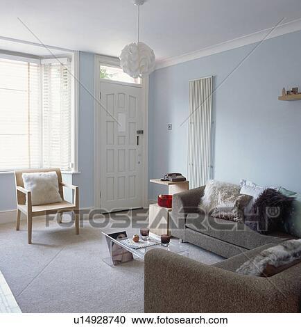 Stock Fotografie - grauer, tweed, sofas, und, weiß, plastik ...