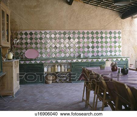 Stockfotografering   pink green, keramik flise, sæt, diagonally ...