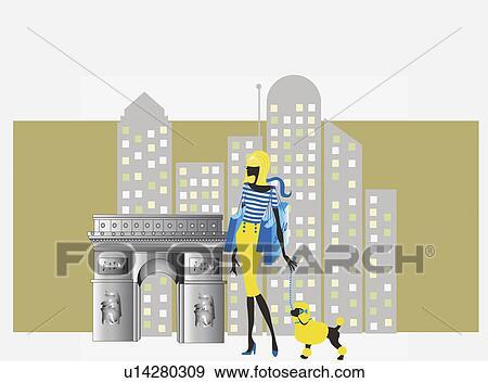 Yürüyen kadın köpek içinde şehir büyük ilüstrasyona bak