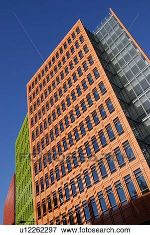 picture of england london west end the brightly coloured glazed terracotta exterior of central saint giles a new office housing retail and public brightly colored offices central st