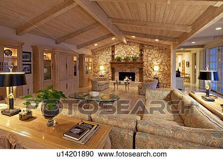 banques de photographies habiter moderne salle int rieur de luxe foyer manoir u14201890. Black Bedroom Furniture Sets. Home Design Ideas