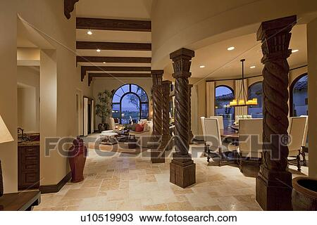 stock foto inneneinrichtung von moderner lebensunterhalt zimmer in luxus landhaus. Black Bedroom Furniture Sets. Home Design Ideas